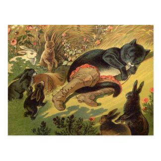 Carte Postale Conte de fées victorien vintage, chat dans les