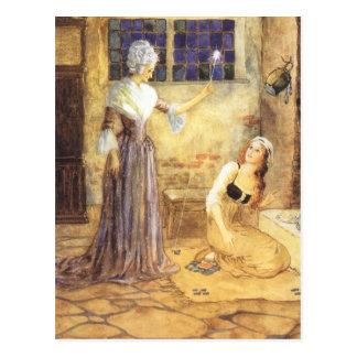 Carte Postale Conte de fées vintage, Cendrillon et marraine