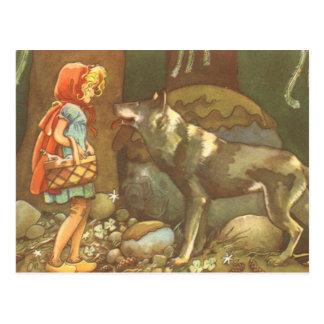 Carte Postale Conte de fées vintage, peu de capuchon rouge