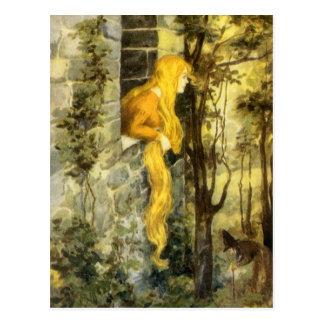 Carte Postale Conte de fées vintage, Rapunzel avec de longs