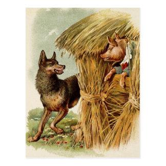 Carte Postale Conte de fées vintage, trois petits porcs et loup