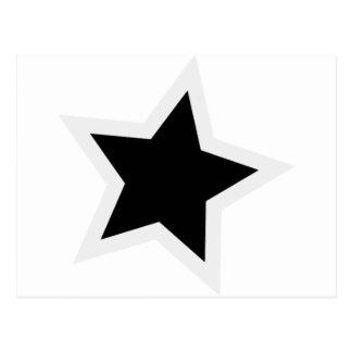 Carte Postale Contour blanc audacieux d'étoile noire
