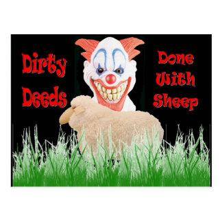 Carte Postale Contrats sales faits avec des moutons
