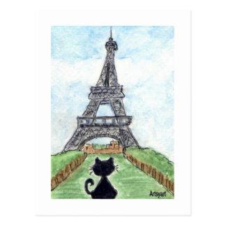 Carte Postale Conversation Noir de chat noir regardant l'art de