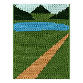Carte Postale Copie de crochet de vert de collines de lac