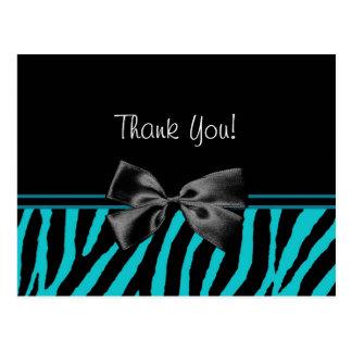 Carte Postale Copie turquoise à la mode de zèbre de Merci avec