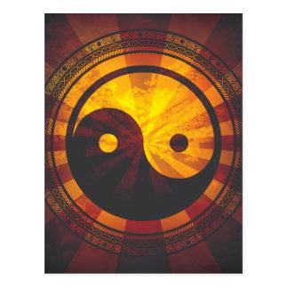 Carte Postale Copie vintage de symbole de Yin Yang