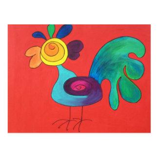 Carte Postale Coq d'arc-en-ciel