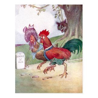 Carte Postale Coq et poule sur le chemin à Hendale