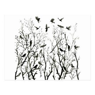 Carte Postale Corneilles d'aquarelle en bois au noir de nuit
