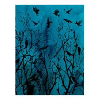 Carte Postale Corneilles d'aquarelle en bois la nuit