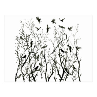 Carte Postale Corneilles d'encre d'aquarelle en bois