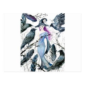 Carte Postale Corneilles et sorcière d'aquarelle