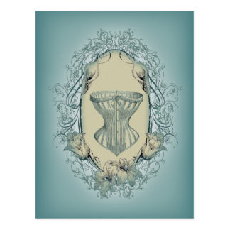 Carte Postale corset floral de cru de guirlande de victorian de