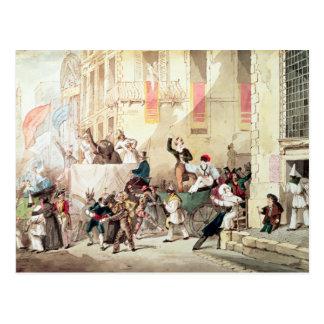 Carte Postale Cortège de cirque en Italie, 1830