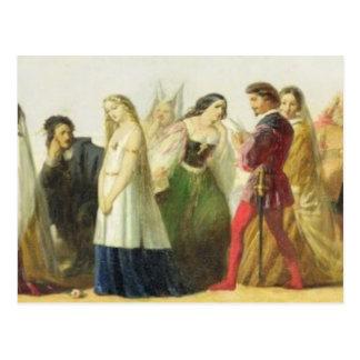Carte Postale Cortège des caractères de Shakespeare (huile