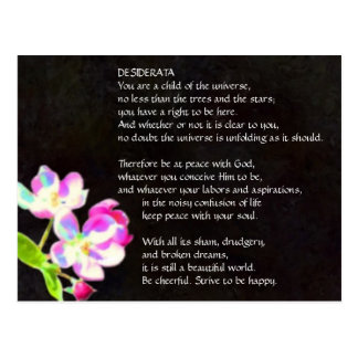Carte postale cosmique de fleurs de DESIDERATA