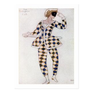 Carte Postale Costumez la conception pour le harlequin, de la