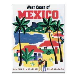 Carte Postale Côte ouest de graphique coloré du Mexique