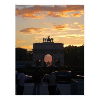 Carte Postale Coucher du soleil avec les monuments