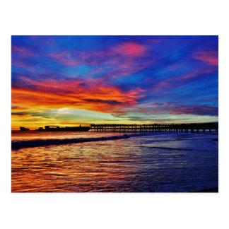 Carte Postale Coucher du soleil de plage de Seacliff. Santa
