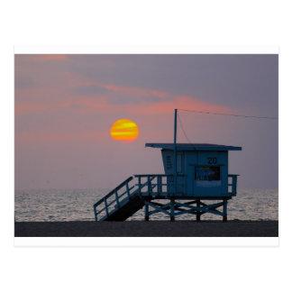 Carte Postale Coucher du soleil de plage de Venise