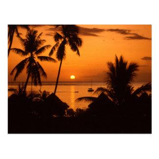 Carte Postale coucher du soleil de tahiiti