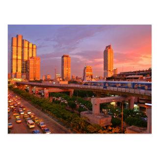 Carte Postale Coucher du soleil de train de ciel de Bangkok
