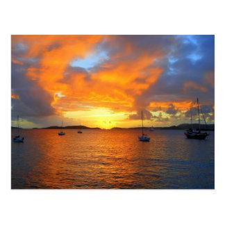 Carte Postale Coucher du soleil d'or de baie de Frank, St John,