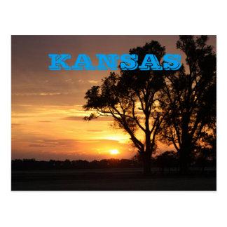 Carte Postale Coucher du soleil du Kansas avec la silhouette
