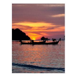 Carte Postale Coucher du soleil en plage de Phuket