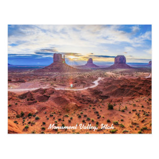 Carte Postale Coucher du soleil en vallée de monument, Utah