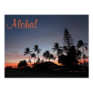 Carte postale - coucher du soleil hawaïen