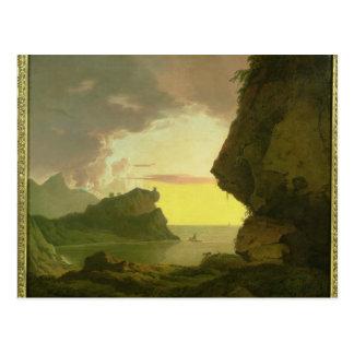 Carte Postale Coucher du soleil sur la côte près de Naples,