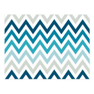 Carte Postale Couleur blanche bleue de dessins géométriques de
