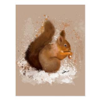 Carte Postale Couleur pour aquarelle d'écureuil