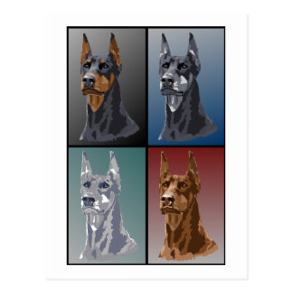 Carte Postale Couleurs de dobermann