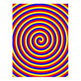 Carte Postale Couleurs primaires. Spirale lumineuse et colorée