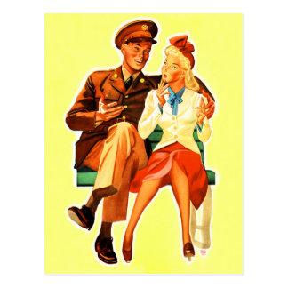 Carte Postale Couples romantiques Romance de soudure militaire