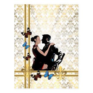 Carte Postale Couples romantiques sur la damassé blanche