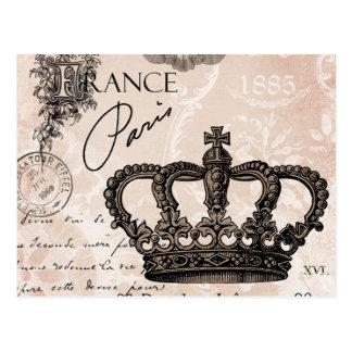 Carte Postale couronne chic minable française vintage moderne