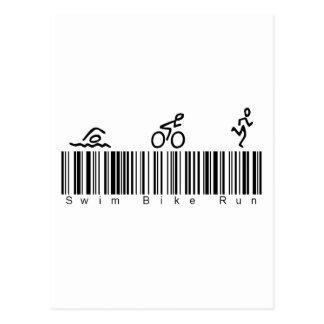 Carte Postale Course de vélo de bain de code barres