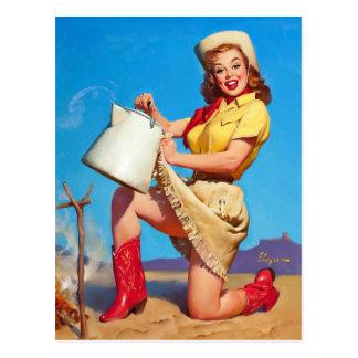 Carte Postale Cow-girl avec le Pin de café