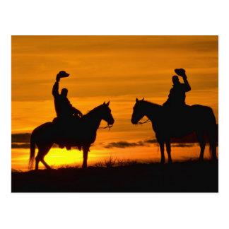 Carte Postale Cowboys sur l'arête au coucher du soleil