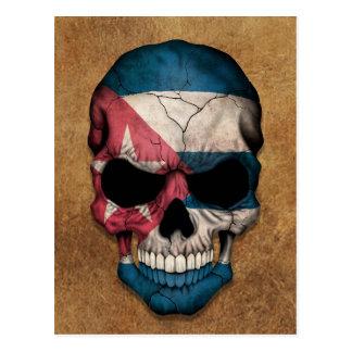 Carte Postale Crâne cubain âgé et utilisé de drapeau