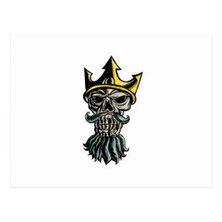 Carte Postale Crâne de gravure sur bois en tête de couronne de