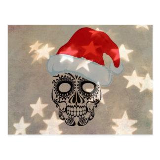 Carte Postale Crâne de Noël avec le bokeh d'étoile