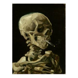 Carte Postale Crâne de Van Gogh avec la cigarette brûlante
