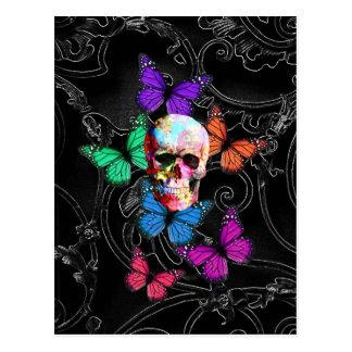 Carte Postale Crâne d'imaginaire et papillons colorés