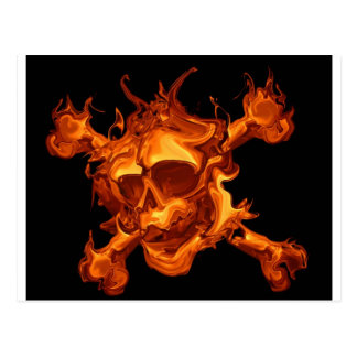 Carte Postale Crâne du feu de flamme